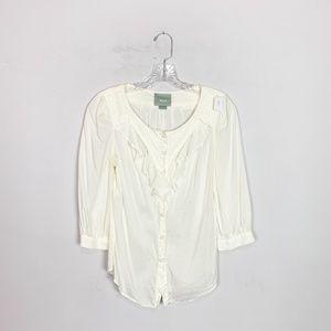 Maeve Anthro white 3/4 sleeve ruffle blouse size 4